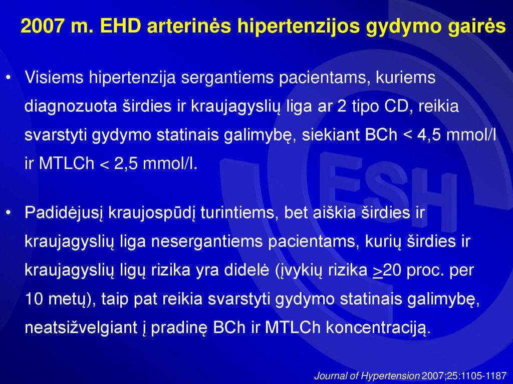 hipertenzija, nepažeidžiant tikslinių organų