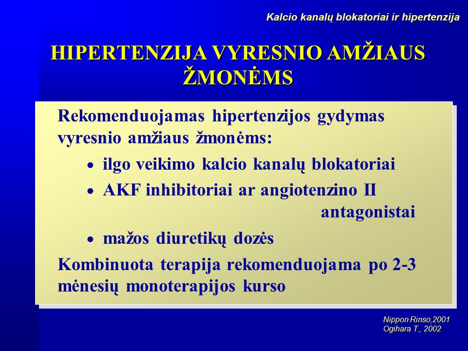 inhibitoriai hipertenzijai gydyti
